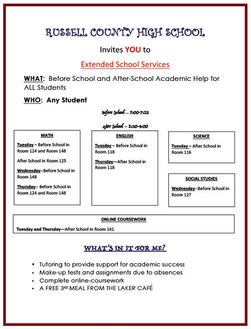ESS Services to be Offered at RCHS